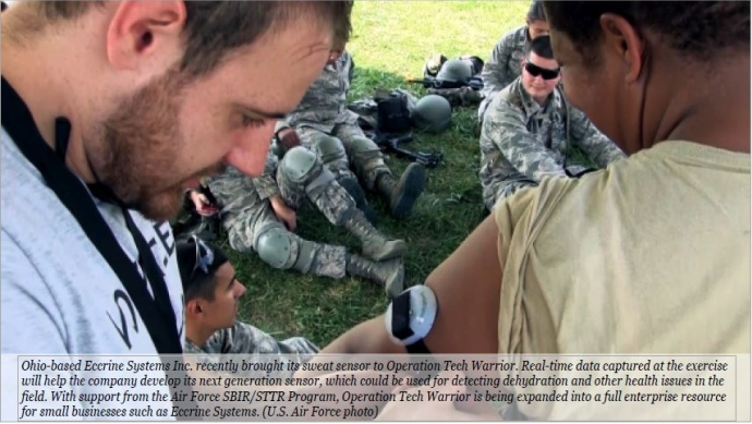 Air Force soldiers helping citizens with sweat sensors